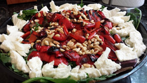Baby Greens with Roasted Peppers & Fresh Mozzarella